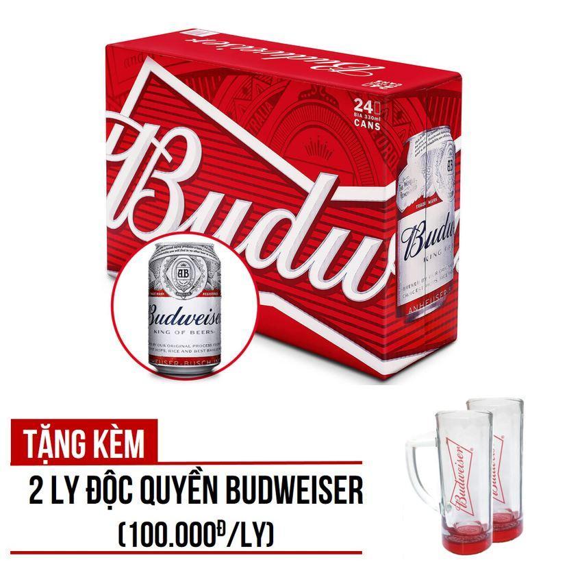 Budweiser lon 330ml – Thùng 24 – tặng kèm 2 ly Budweiser