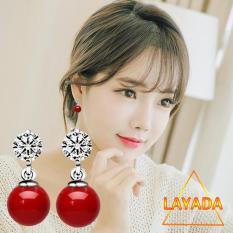 Bông tai nữ đính đá tòn ten mã não đỏ thẩm phong cách Hàn Quốc-LAYADA SHOP