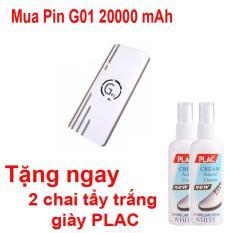 Pin sạc dự phòng G01 Litinum 20000MAH (Trắng) – hổ trợ sạc nhanh +Tặng ngay 2 chai tẩy trắng giày PLAC