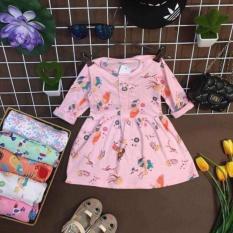 váy cotton dài tay cho bé gái từ 9-22kg