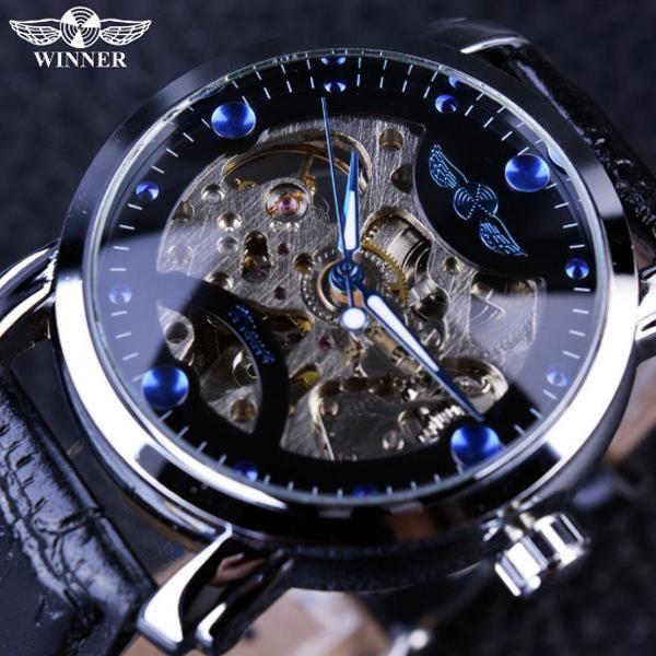 Đồng hồ cơ nam Winner H005M lộ máy (M Dây da và dây kim loại) Đang Bán Tại Win Win