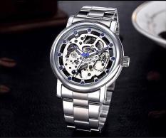 Đồng hồ cơ nam dây thép thương hiệu Nary (Dây Bạc, Mặt Bạc)