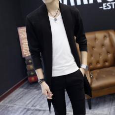 Áo cardigan nam dáng dài màu đen CG02