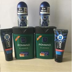 (NHH) Trọn bộ 6 Sản Phẩm Bao Gồm (2 Dầu Gội Đầu Romano (100g/chai), 2 Lăn khử mùi Nivea (12ml/chai), 2 Sữa rửa mặt OXY (25g/tuýp)