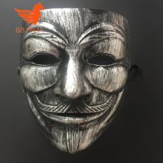 Mặt nạ Hacker mặt nạ Anonymous – màu bạc mắt xanh