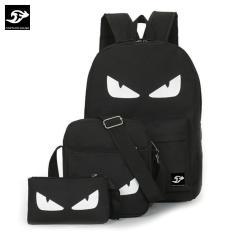 BỘ: Balo ĐÔI MẮT đi học, đựng laptop 15.6inch + Túi đeo chéo ipad + bóp bút Fortune Mouse KQ860 (Loại đẹp)