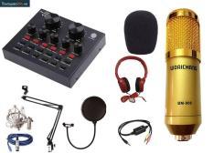 Combo thu âm số 12: Sound card V8+ Micro WoaiChang BM900+ full phụ kiện.