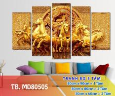 Sale giá gốc Tranh Trang Trí Mã đáo MD80505- Tranh treo tường đẹp 3D [5 tấm rộng 2m cao 1,2m] Ngọc Diệp Decor