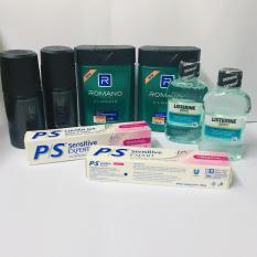 (NHH) Trọn bộ 8 Sản Phẩm Bao Gồm (2 Dầu Gội Đầu Romano (100g/chai), 2 Xịt khử mùi AXE (50ml/chai), 2 Kem đánh răng P/s (30g/tuýp + 2 Nước súc miệng Listerin 80ml)