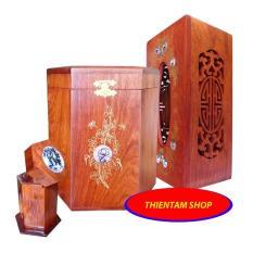 Bộ 3 món tiện ích bằng gỗ hương đỏ (Hộp Trà lớn,hộp khăn giấy,hộp tăm,hộp giấy) COM042