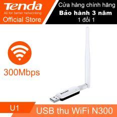 USB thu sóng Wifi tốc độ 300Mbps Tenda U1 (Trắng) – Hãng Phân phối chính thức