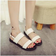 Giày sandal 2 quai lót đen trắng