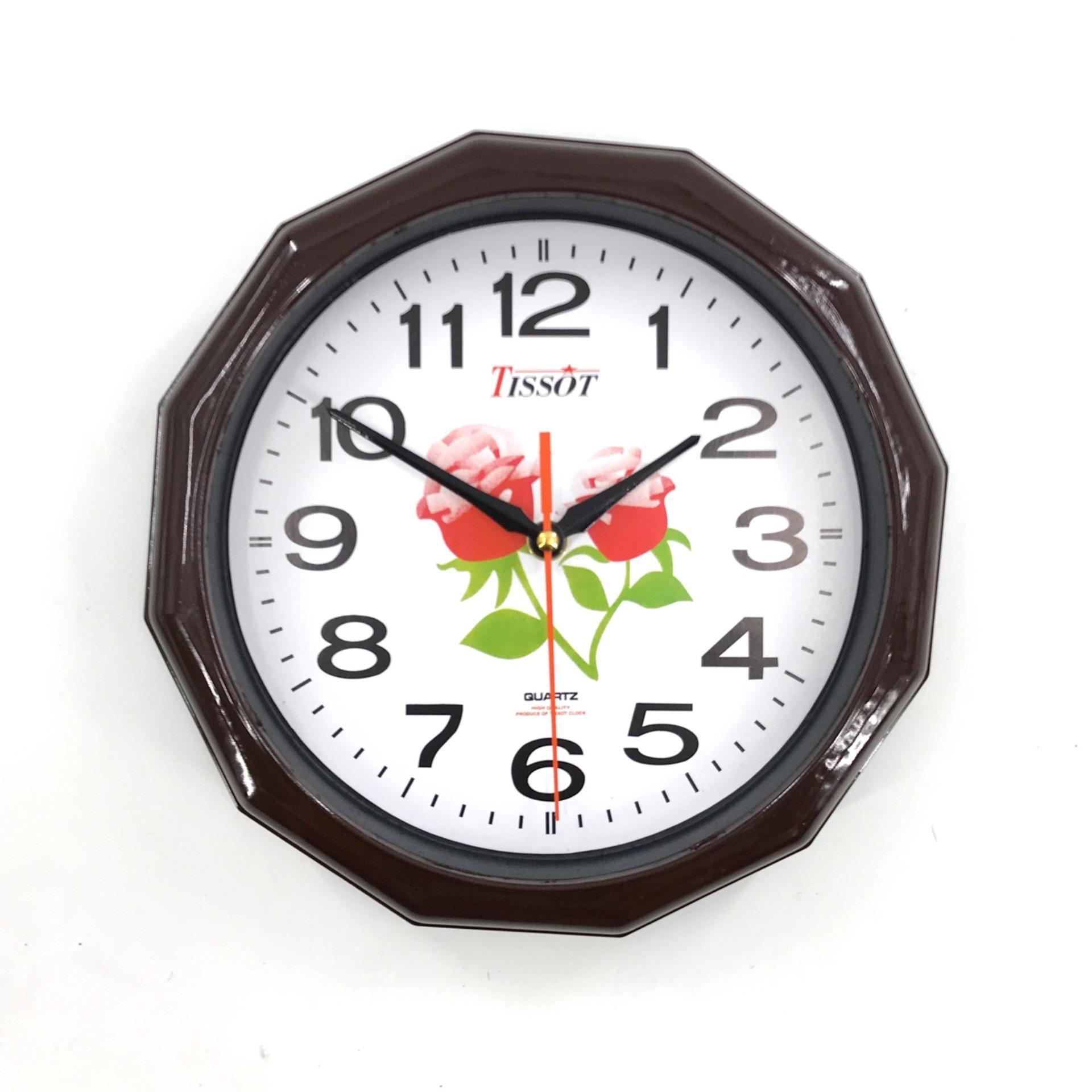 Đồng hồ treo tường hình tròn Vati s2 ( Nâu )-Món quà tuyệt vời dành tặng khách hàng