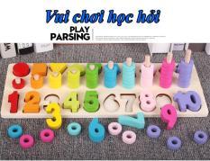 Bộ giáo cụ Montessori 4 trong 1: Bộ số, Bộ đếm, Bộ hình khối và màu sắc