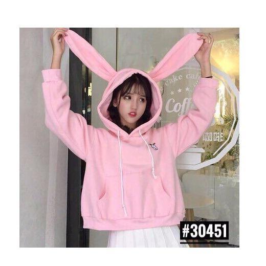 Áo khoác hoodie nữ siêu đẹp mũ tai thỏ cực dễ thương