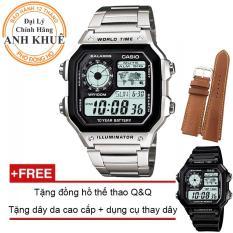 Đồng hồ nam dây kim loại Casio Anh Khuê AE-1200WHD-1AVDF + Tặng dây da bò cao cấp và tặng đồng hồ thể thao Q&Q