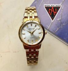 Đồng hồ nữ halei HL502VT dây vàng mặt trắng chống nước