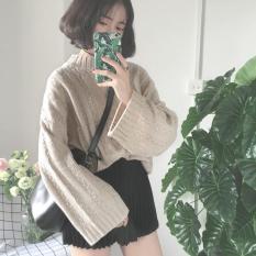 Áo len nữ dáng rộng cổ tròn 3 phân