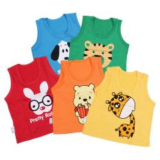 Bộ 5 áo ba lỗ 5 màu in ATL06# MihaBaby