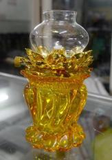 Đèn dầu cát tường chân thủy tinh hoa sen vàng-trắng cao 15cm