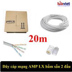 Dây cáp mạng AMPLX 2 đầu chống nhiễu 20m (Trắng)