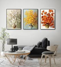 Khung tranh gỗ treo tường phòng khách Lọ Hoa 3D / Gỗ MDF cao cấp / Chống ẩm mốc-HD17