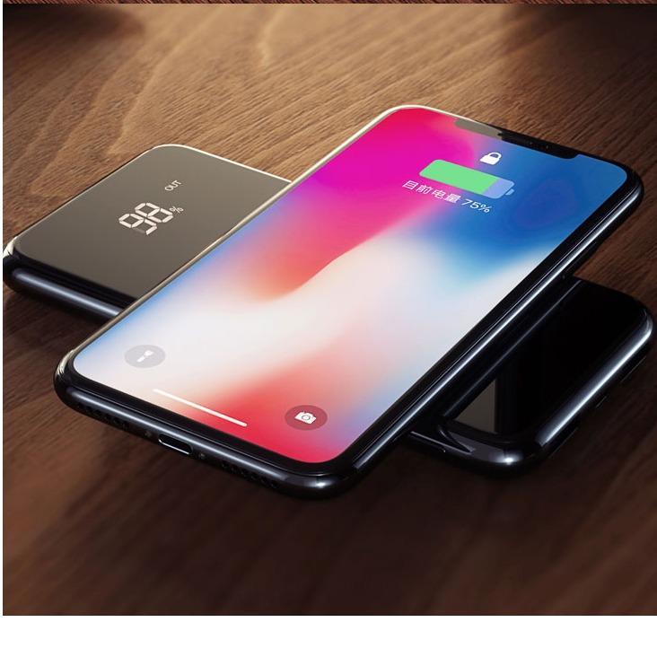 Sạc không dây ABO W10 thông minh chuẩn Qi kiêm pin dự phòng 10000 mAh cho Iphone 8, iphone X,Samsung...