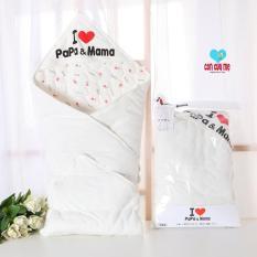 Chăn ủ cotton Love mama love papa size 85x85cm