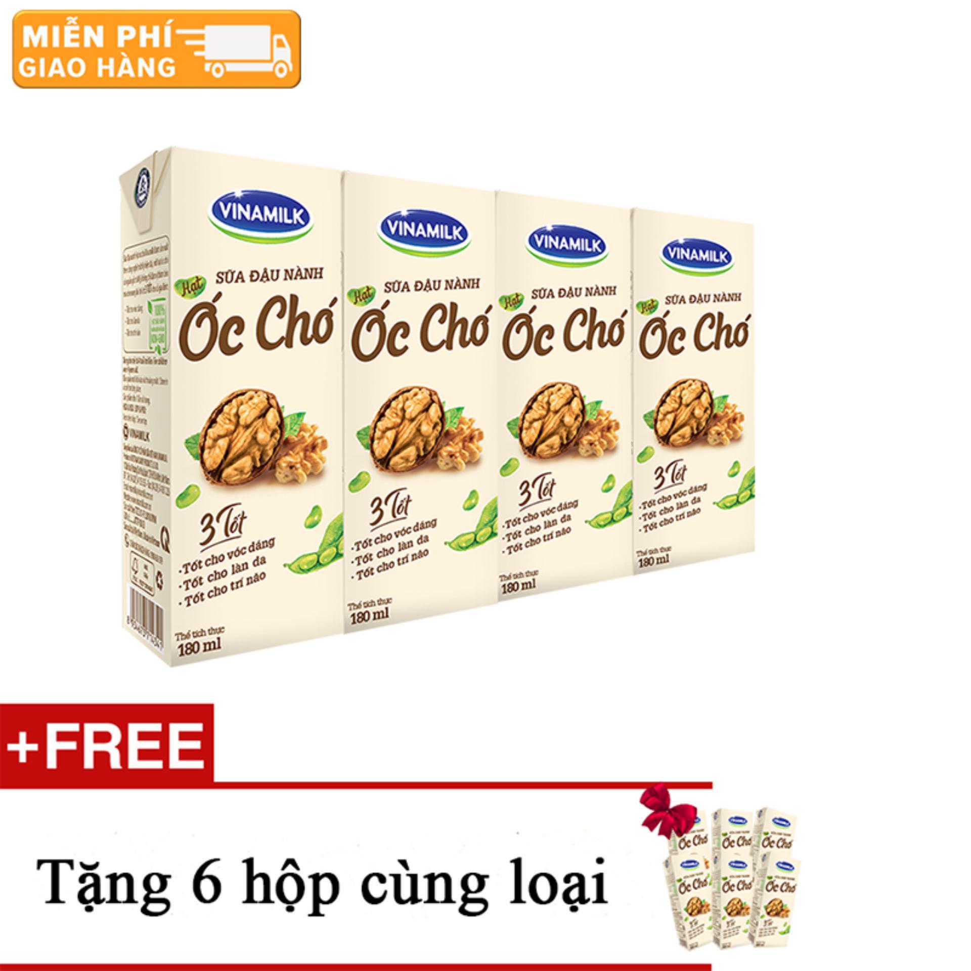 Thùng 12 lốc Sữa đậu nành Vinamilk hạt Óc chó - Lốc 4 hộp x 180ml+ Tặng 6 hộp cùng...