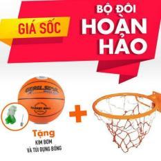 Combo bộ sản phẩm Vành bóng rổ 40cm + quả bóng rổ số 6 (Cam) ĐỒ TẬP TỐT