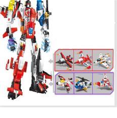 combo 6 in 1 máy bay biến hình Robot đồ chơi lắp ráp