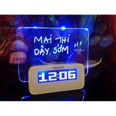 Đồng hồ báo thức HIGHSTAR bảng ghi nhớ phát sáng ( trắng )