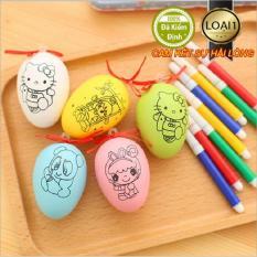 Combo 2 Trứng Tô Màu Cho Bé Kèm Bút Lông Mẫu mới