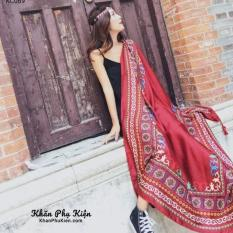 Khăn Choàng Cổ Họa Tiết Viền Thổ Cẩm Màu Đỏ – Cotton Viscose – 180x100cm – Mã KC069