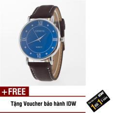 Đồng hồ nam dây da thời trang Geneva IDW 9821 + Tặng kèm voucher bào hành IDW
