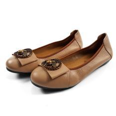 Giày Búp Bê Nữ Da Bò Thật Cực Mềm Ôm Chân Dáng Xinh Duyên Dáng (Kem) Evelynv GB01MC