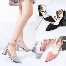 Giày cao gót nữ đế vuông dây chéo xinh xắn dễ thương – 7cm