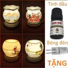 Đèn xông tinh dầu sứ Bát Tràng hình Ống cỡ TO TẶNG Tinh dầu + Bóng 9 x 16,5cm / Đuổi muỗi Diệt muỗi Đèn trang trí