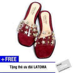 Dép nữ quai ngang trong suốt thời trang cao cấp Latoma TA1734 (Đỏ)+ Tặng kèm thẻ ưu đãi Latoma