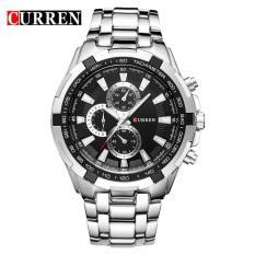 Đồng hồ nam Curren 8023 dây trắng mặt đen