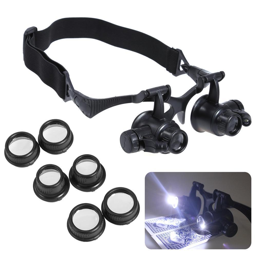 Kính lúp đội đầu có đèn – Kính lúp sửa chữa, Đèn LED siêu ánh sáng, An Toàn cho mắt, Độ phóng đại đa năng 10x 15x 20x 25x- dòng sản phẩm CAO CẤP.