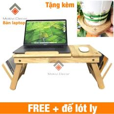 Bàn gỗ laptop đa năng TẶNG 1 ĐẾ LÓT LY – bàn xếp gọn thông minh