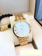 đồng hồ nam dây vàng mặt trắng,chất liệu thép không han rỉ,chống nước ,chống xước tuyệt đối