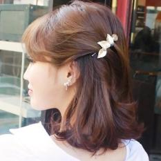 Kẹp tóc hình lá phối ngọc trai màu bạc, dịu dàng nữ tính dành cho bạn nữ, chất liệu hợp kim cao cấp