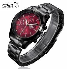 Đồng hồ nam Bosck dây kim loại kim dạ quang 6 kim nam tính tinh tế + Tặng hộp đồng hồ sang trọng (Đỏ và đen)