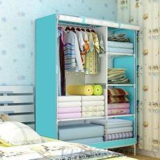 Tủ vải quần áo cao cấp kiểu dáng 3D 2 buồng 6 ngăn