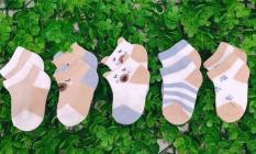 Bộ 5 đôi vớ tất lưới cho em bé từ 0-12 tháng tuổi(mẫu có tai chống mồ hôi trộm)