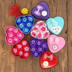 Quà tặng hộp thiếc hình tim 6 bông sáp phối màu