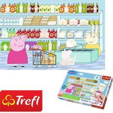 Tranh ghép hình TREFL 75117 – Sticker 35 mảnh Peppa Pig đi chợ (kèm bảng dán Sticker) (jigsaw puzzle Tranh ghép hình chính hãng TREFL)