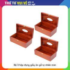Bộ 3 hộp đựng giấy ăn gỗ Trơn đẹp sang trọng